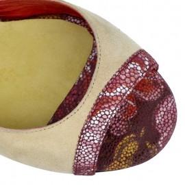Tangolera Camoscio Beige / Red Flower | TBA1cl-bjx9