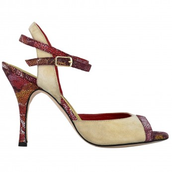 Tangolera Camoscio Beige / Red Flower | TBA1cl-bjx9