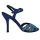 Entonces T-Shoes Maya Orion - Italian Women's Shoes model EMO-blcrstx9, Blue Suede Leather with Crystals, Heel 9