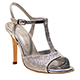 Entonces T-Shoes Naima Argento - Italian Women's Shoes, model ENAg-slvx9, Silver Laminated Nappa with small Glitter, T-strap Sandals, Heel 9 (also available Heels 7, 8)