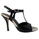 Entonces T-Shoes Naima Black - Italian Women's Shoes, model ENBcv-blkx9, Black Lurex Suede & Black Patent Leather Combo T-strap Sandals, Heel 9