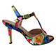 Entonces T-Shoes  Naima Fleur  Italian Women's Shoes Model ENFs-flwx9,  Colorful Flowers on Satin T-strap Sandals,  Heel 9 (also available Heel 7)