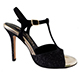 Entonces T-Shoes Naima Luna Notte Italian Women's Shoes - Model ENLNcg-bckx9 Black Laminated Suede & micro Glitter Combo T-strap Sandals on Heel 9 (also available Heels 7, 8)