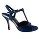 Entonces T-Shoes Naima Orion - Italian Women's Shoes model ENOcv-blux9, Blue Suede & Patent Leather Combo T-strap Sandals, Heel 9