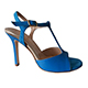 Entonces T-Shoes Naima Turchese - Italian Women's Shoes model ENTcn-trqx9, Turqoise Suede & Nappa Leather Combo T-strap Sandals, Heel 9