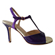 Entonces T-Shoes Naima Viola - Italian Women's Shoes, model ENVcv-vltx7, Violet Patent Leather & Suede Combo T-strap Sandals, Heel 7