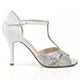 Salsolera Lara Pit Bianco/Nero - Italian Women Shoes model 'Lara Pit' SBLP-bwx9, black and white pattern uppers, napa and silver glitter, heel 9cm