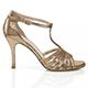 Salsolera Gold Caviar Liu T9 Italian Women's Shoes - Model SBLIU-gldcvx9 golden pattern shiny uppers, T-strap and covered heels, stable heel 9cm