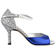 Salsolera Siena Blu S8 - Italian Women Shoes model S8, electric blue with silver glitter, laminated straps and glitter covered heels, heel 8cm