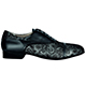Tangolera Pizzo Nero / Nappa Nera - Italian Men Shoes model TBPzNp105bk2x2p2, silver lace-printed napa pattern with shiny napa in black combo, heel 2.2