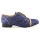 Tangolera 107 Oxford Deep Blue Italian Men's Shoes - Model TBA107camblux2p2 Dark Blue Suede uppers, with light brown details on Heel 2.2