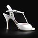 Tangolera Nappa Bianca Glitter - Italian Women Shoes model TBA1-whgtx9, white napa T-strap sandals with glitterred rame and ornamental ring in  Heel 9