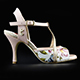 Tangolera Rosa Magnolia - Italian Women's Shoes Model TBA10-rmgnx7, Starlight Collection, pale pink plain & floral pattern napa sandals with copper glitterred T-strap and border (rame) in Heel 7 (also available on HEEL 9)