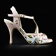Tangolera Rosa Magnolia - Italian Women's Shoes Model TBA10-rmgnx9, Starlight Collection, pale pink plain & floral pattern napa sandals with copper glitterred T-strap and border (rame) in Heel 9 (also available on HEEL 7)