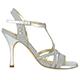 Tangolera Notturno Argento Laminato Argento - Italian Women's Shoes Model TBA11-NLagx9, Iridescent Silver Fabric, T-strap sandals, Heel 9 (also available HEEL 7)