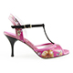 Tangolera Fuchsia Orchidea Italian Women's Shoes Model TBFOA14-fxorhx7, Ankle double-strap T-strap sandals, Starlight Collection, Fuchsia Nappa and Floral Print combo and suede T-strap, Heel 7 (also available Heel 9)