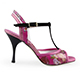 Tangolera Fuchsia Orchidea Italian Women's Shoes Model TBFOA14-fxorhx9, Ankle double-strap T-strap sandals, Starlight Collection, Fuchsia Nappa and Floral Print combo and suede T-strap, Heel 9 (also available Heel 7)