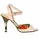 Tangolera Spring Flower - Italian Women Shoes model TBA1cl-pnkx9, light pink nappa and red/green flower pattern, heel 9