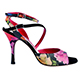 Tangolera Black Flower - Italian Women Shoes model TBA23-bkflwx9&7,  Flower pastel colors double strap sandals, with one black strap, on HEEL 9