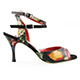 Tangolera Black Flower New - Italian Women's Shoes Model TBA23n-bkflwx7, Flower Pattern colors Nappa double strapped sandals, one black suede ankle-strap, another flower pattern X-Strap with loop, on Heel 7 (also available on HEEL 9)