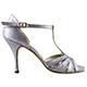 Tangolera A32CY Glitterino Acciaio Italian Women's Shoes - Model TBA32CYg-acstlx7 Silver Steel micro-glitter T-strap sandals Elastic fit Double padding insoles Wide shape on Heel 7