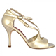 Tangolera Perlato Platino - Italian Women Shoes model A4b, nappa painted platinum, pearl white, heel 9