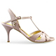 Tangolera Rosa Antico - Italian Women Shoes model TBA6T-pnkx7, pale pink/cappuccino beige nappa T-strap sandals in  Heel 7 (also available in HEEL 9)