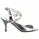 Tangolera Acciaio - Italian Women Shoes model TBA9CL-agfx7, silver-steel napa with foil, double-strap sandals in  Heel 7