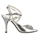 Tangolera Acciaio - Italian Women Shoes model TBA9CL-agfx9, silver-steel napa with foil, double-strap sandals in Heel 9