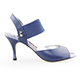 Tangolera Blue Jeans - Italian Women Shoes model TBE01-bjsx7, Blue Napa Leather, Striped Rame (borders),  Heel 7