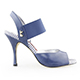 Tangolera Blue Jeans - Italian Women Shoes model TBE01-bjsx9, Blue Napa Leather, Striped Rame (borders), Heel 9