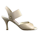 Tangolera Nappa Nudo - Italian Women Shoes model TBE01n-ndx9,  Nude Napa Leather, Striped Rame (borders),  Heel 7
